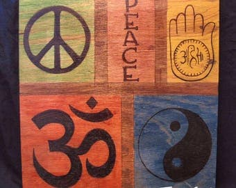 Symbols of Peace Wood Sign