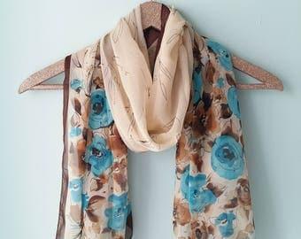 Watercolor design chiffon scarf
