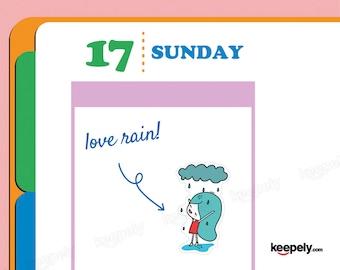 I Love Rain! Sticker Planner Scrapbooking Kawaii Hand Illustrated Things I Love Cloud Rain Water Happiness Happy Rainy Day Joy Drawing Art
