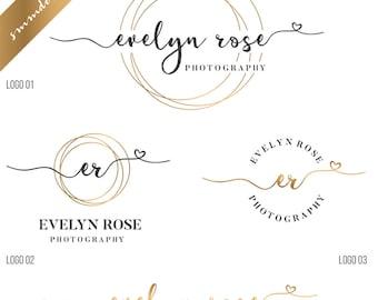 Premade branding kit, Photography logo and watermark, Heart logo, script logo design, wedding logo, watercolor logo, business logo stamp 153