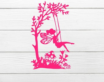 Fairy on a swing vinyl decal, Fairy, fairies, cute decal , girls decal, fairy decal