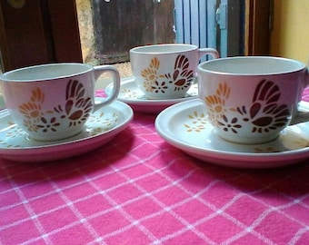 3 Tea or Coffee Cups and Saucers - French vintage Sarreguemines set