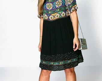 Retro Print Swing Dress - Plus Size Smock Style Floral Print Dress