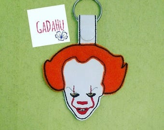 Creepy Clown Key Fob Snap Tab Embroidery Design 4X4 size. Halloween. Applique and filled