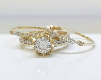handmade trio ring set vintage ring swarovski stone ring ring set rings - Unique Wedding Ring Set