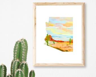 Arizona State Print - Arizona Print - Watercolor Desert Print - Cactus Print - Arizona Gift - Desert Landscape Art - Arizona Home Decor