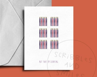 Not that I'm counting - milestone birthday card - greeting card - happy birthday - funny greeting card - funny birthday card