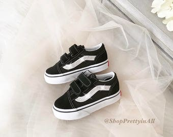 Blinged Baby Girl's Old Skool Vans Shoes Customized with Classic Silver Swarovski