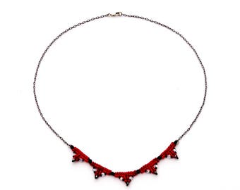 Red beaded necklace with swarovski crystal accents