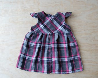 Flannel dress, pink and grey dress, toddler dress, girl dress, gift for girl, gift for toddler