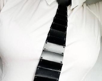 Genuine leather tie; black leather tie; woman tie; tie necklace; leather necktie