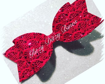 Red Lace Hair Bow Large