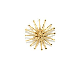 Vintage Signed MONET Gold Toned Beaded Starburst Brooch Pin