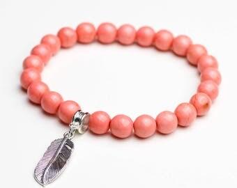 Boho bracelet silver rose feather pearls