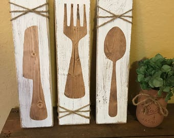 rustic kitchen, kitchen wall art, fork knife spoon, kitchen decor, rustic silverwear