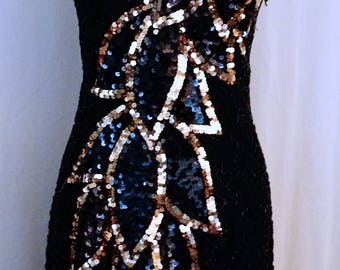 Vintage Black Sequined Dress