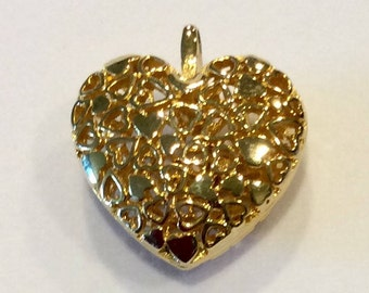 Pendant, heart shaped, gold plated, FREE SHIPPING