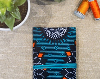 Rolling Smoking Pouch in Turquoise & Orange Wax Print - Smoking Accessories | Rolling Accessories