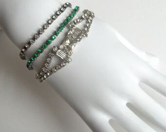 3Pc Vintage Rhinestone Tennis Bracelet LOT 1 Green Sterling Silver, 2 Clear Silver Tone