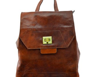 Genuine Leather Woman Backpack with 3 Compartments