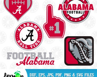 Alabama Football SVG, Alabama Roll Tide DXF, Alabama Monogram, Instant Download, Football Alabama DXF 20