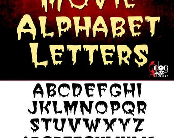 Horror Movie Alphabet Digital Font Cut Files Svg Dfx Eps Png Silhouette SCAL Cricut Printable Vector Download Paper Vinyl Die Cutting JB-358
