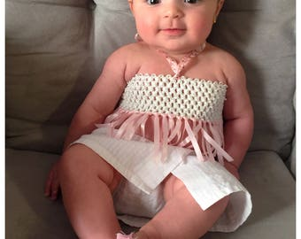 Baby Girl Halter Tops / Baby Tube Tops / Pink and White Halter Top