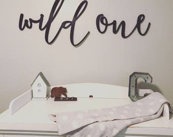 Wild One Children's Room Wall Decor Word Wood Cut Out