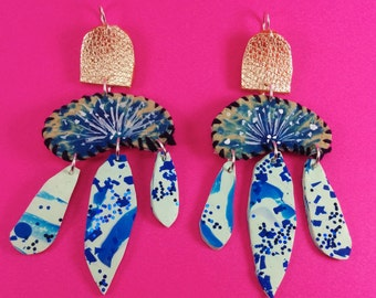 Indigo Cleopatra Drops - Hand painted leather and polymer clay statement earrings