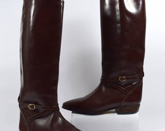Charles David Vintage 80s Brown Leather Knee High Riding Boots Size 8B Made in Spain