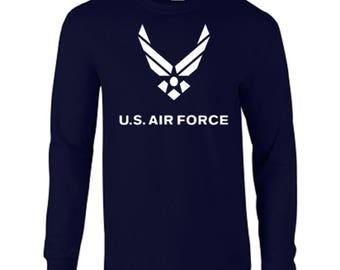 Air Force USAF United States Armed Forces Wings Airplanes Long Sleeve Tee
