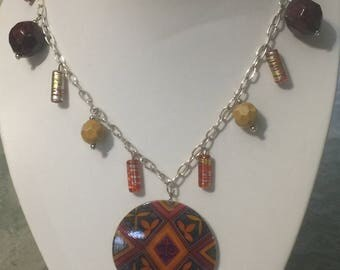 Handmade Orange and Yellow and Brown Aztec Design necklace