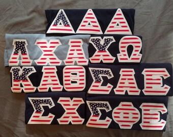 Custom American Flag Greek Letters (Stitched Shirt)