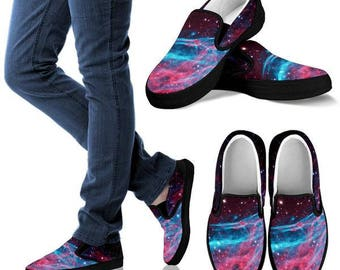 Custom Shoes - Womens slip on - Galaxy