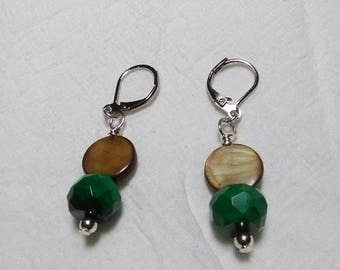 Malachite and Mother of Pearl Earrings