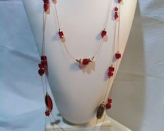 3 Strand Red Glass Necklace