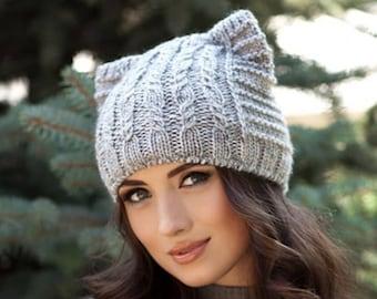 Cat Hat, Cat Ears, Cat Ear Hat, Womens Cat Beanie, Cat Ear Beanie, Knit Hat, Ears Hat, Knitted Hats, Bonnet Femme, Hat with Cat Ears