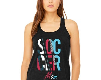 Abstract Soccer Mom Flowy Racerback Tank Top