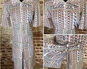 1970s Poly Aztec Printed Romper. 70s Romper. Vintage Romper Dress