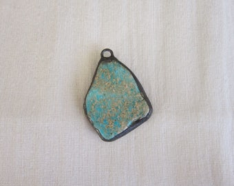 Hand Soldered Large Turquoise Pendant