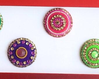 6 Big Multi Color Bollywood Round Bindis Pack,Round Bindis,Velvet Colorful Bindis,Colorful Face Jewels Bindis,Bindis,Self Adhesive Stickers