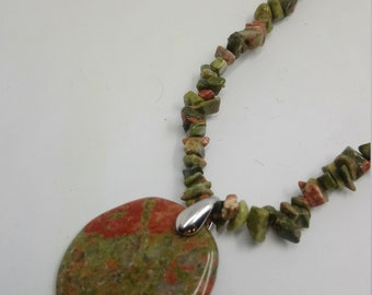 Necklace 2 in 1-41, 42 Gr-UNAKITE - unakite chips stones