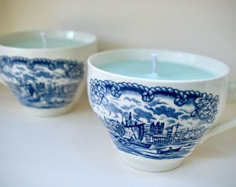 Pair of Nautical Vintage Teacup Soy-Coconut Candles: Fragrance Inspired by Great Lakes Beaches, Staffordshire China Made in England