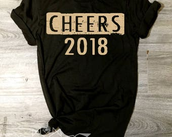 New Years Eve Shirt, Cheers NYE Shirt, Cheers Shirt, NYE Tee, Cheers 2018 Shirt, Women's New Years, Ring in the New Year, GOLD Shimmer ink