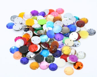 Mixed colour round Acrylic stones // Sew-on