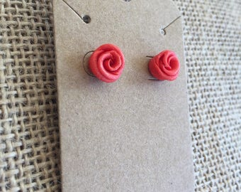 Small red rose clay stud earrings