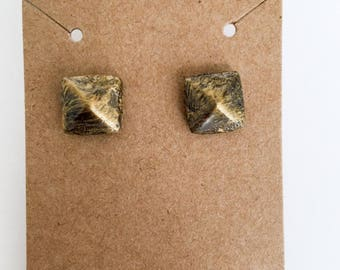 Black and Gold Clay Stud Earrings