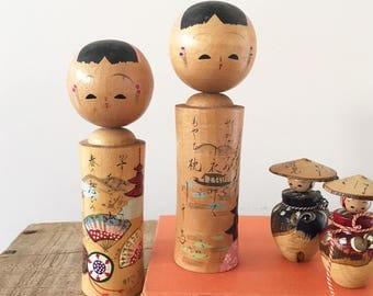 2 Vintage Wooden Kokeshi Nodding Dolls - Japanese Doll nodders - wood kawaii japan bobblehead  #0353