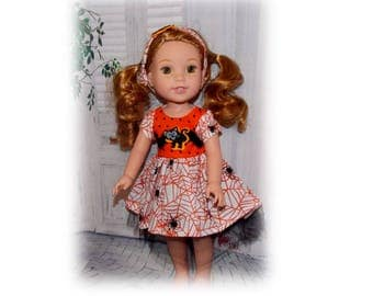2 Pc Clothes Set.  Spiders and Cats. Handmade Halloween Dress & Matching Headband fits Wellie Wisher sized dolls.