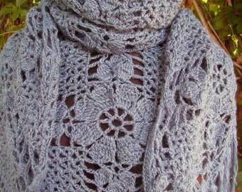 Knit shawl gray  womens shawl lace shawl knit shawl neck warmer hand knit shawl fashion scarf unique gift avan